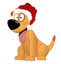 cartoon yellow dog in the santa claus hat vector image
