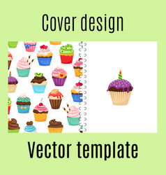 Cover design with cupcakes pattern vector