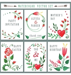 Floral card set with Watercolor Red flowers vector image