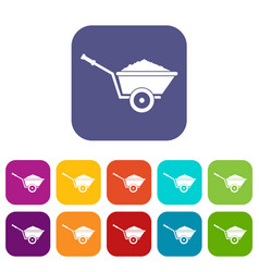 garden wheelbarrow icons set vector image
