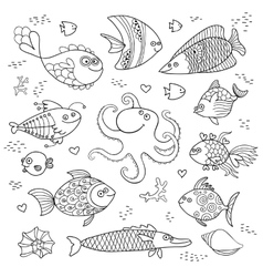 Set cute fish and octopus for the design of child vector