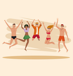 Summer people and beach vector