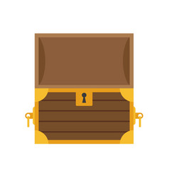 wooden empty chest with open cover vector image