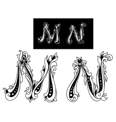 Capital letters M and N vector image vector image