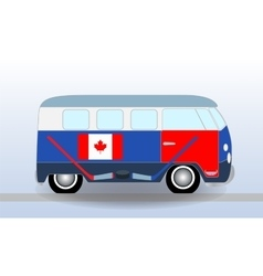 Cartoon minibus with Hockey Stick and Puck vector image vector image