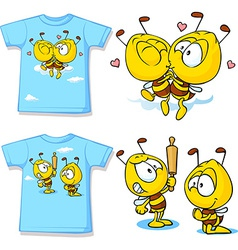 kid shirt with cute bees - isolated on white back vector image vector image
