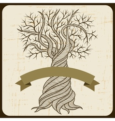 Retro card with abstract curling tree vector image