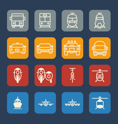 Vehicle and transportation icons set flat design vector