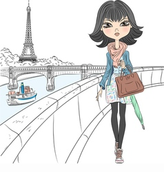 Beautiful fashion girl in a scarf in Paris vector image vector image
