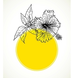 card with hibiscus on yellow circle frame vector image