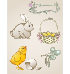 hand drawn easter symbols vector image vector image