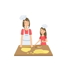 Mother And Child Making Cookies Together vector image