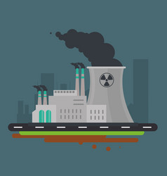 nuclear plant power industry icon graphic vector image vector image