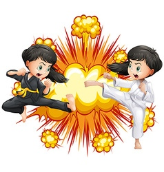 Two girl in kungfu outfit fighting vector image