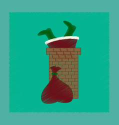 Flat shading style icon santa claus in chimney vector