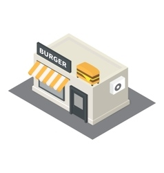 isometric fast food burger building icon vector image vector image