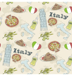 Italy travel grunge seamless pattern vector image