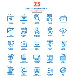 Modern Flat Line Color Icons SEO vector image vector image