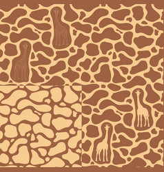 set of seamless patterns with a giraffe vector image