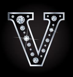 Shiny diamond letter isolated on black vector