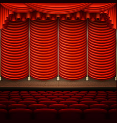 Stage with red curtain eps 10 vector
