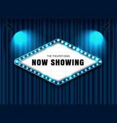 theater sign on curtain with spotlight vector image vector image