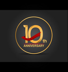 10 anniversary design golden color with ring vector