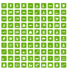 100 charity icons set grunge green vector image