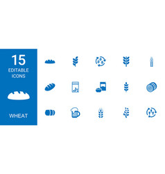 15 wheat icons vector image