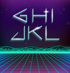 80s Retro Futurism Geometric Font from G to L vector image vector image