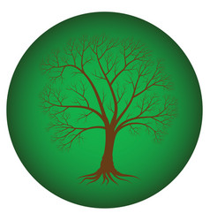 Abstract tree with bare branches on a green vector