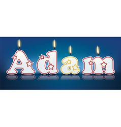 ADAM written with burning candles vector