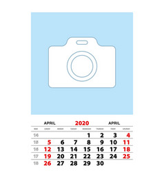 April 2020 calendar planner a3 size with place vector