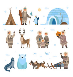 Arctic expeditions and discoveries north pole vector