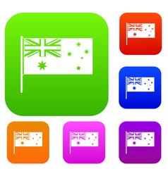 australian flag set color collection vector image