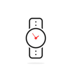 black linear wristwatch icon vector image