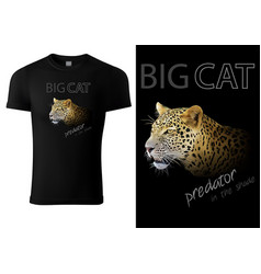 black t-shirt design with leopard head vector image
