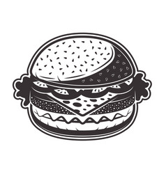 Burger in monochrome style vector