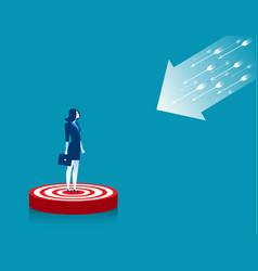 Businesswoman standing on target vector