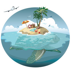 Cartoon island on a sea turtle for a vector
