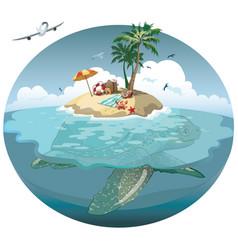 cartoon island on a sea turtle vector image