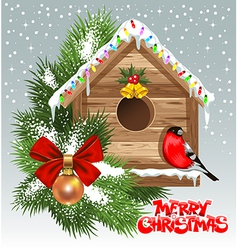 Christmas Birdhouse vector image