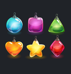 christmas decorations festive colorful glossy new vector image