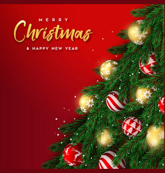 christmas pine tree and gold bauble ornament card vector image