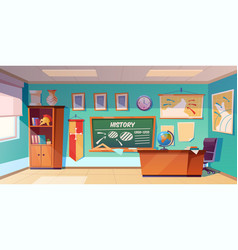 Classroom history empty interior school class vector