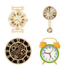 clock and time icon set of vector image
