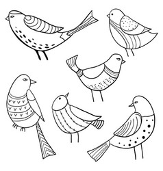 collection of cute hand drawn birds vector image