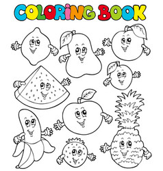 coloring book with cartoon fruits 1 vector image