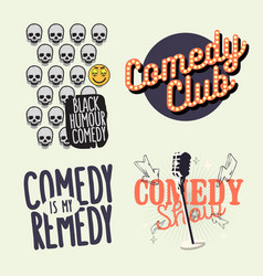 Comedy show comedian hand lettering vector