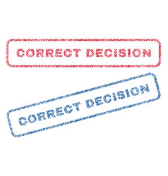 correct decision textile stamps vector image